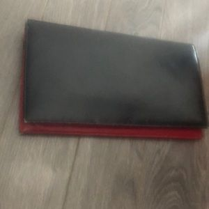 Vintage 1960s extra thin clutch red&black leather